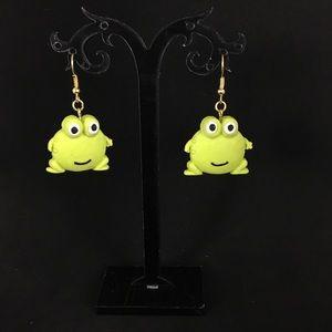 Handmade Polymer Clay Frog Earrings